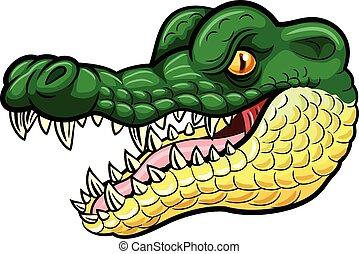 Cartoon angry crocodile mascot