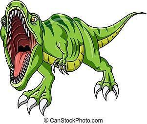 Cartoon angry green dinosaur growling