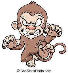 Angry monkey - Vector illustration of cartoon Angry monkey