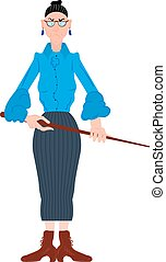 Vector illustration of cartoon angry teacher in a blue blouse with pointer