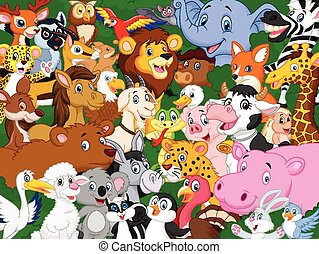Cartoon animal background - Vector illustration of Cartoon...