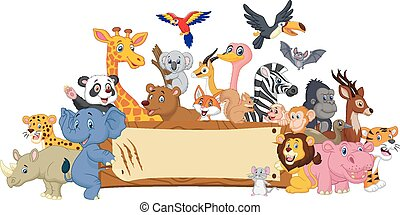 Cartoon animal with blank sign - Vector illustration of...