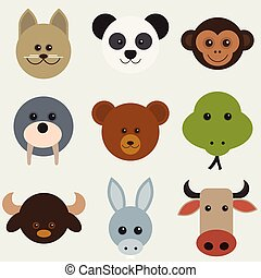 Vector illustration of cartoon animals head