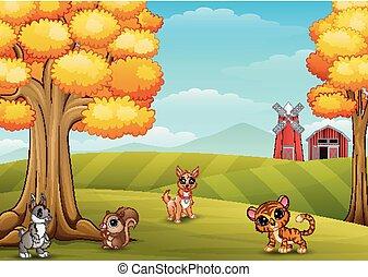 Cartoon animals in the farm background