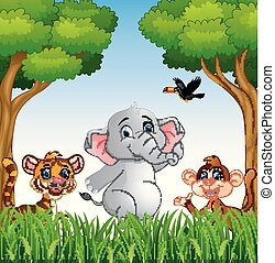 Cartoon animals in the jungle
