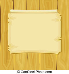 Vector illustration of cartoon announcement on wooden boards