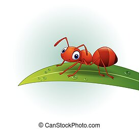 Cartoon ant on the leaf