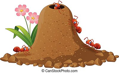 Cartoon ants colony and ant hill - Vector illustration of ...