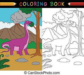 Cartoon Apatosaurus coloring page - Vector illustration of...