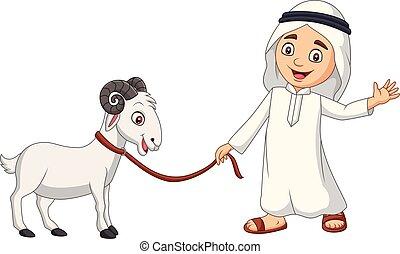Cartoon Arab Muslim boy with a goat
