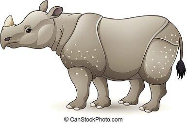 Cartoon Asian rhinoceros isolated on white background