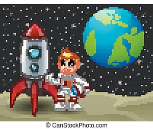 Cartoon astronaut boy holding a helmet and rocket space ship on the moon with planet earth in the background