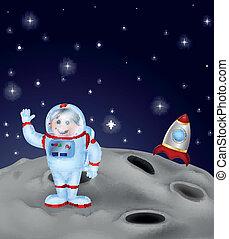 Cartoon Astronaut landing on the mo