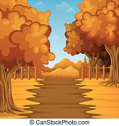 Cartoon autumn landscape with mountains