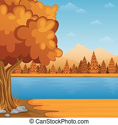 Cartoon autumn landscape with river and mountains