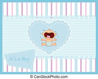 Cartoon baby boy crying card
