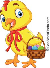 Cartoon baby chick holding a basket of Easter egg