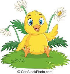 Cartoon baby chick sitting on the grass
