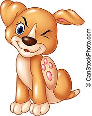 Vector illustration of Cartoon baby dog scratching an itch isolated on white background