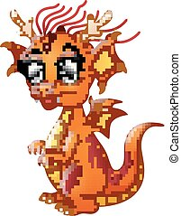 Cartoon Baby dragon isolated on white background