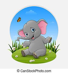 Cartoon baby elephant posing on the grass