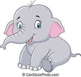 Cartoon baby elephant sitting