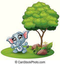 Cartoon baby elephant sitting under a tree on a white background