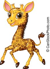 Cartoon baby giraffe running