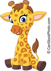 Cartoon baby giraffe sitting - Vector illustration of...
