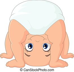Cartoon baby girl playing upside do - Vector illustration of...