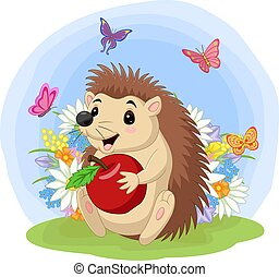 Cartoon baby hedgehog holding apple in the grass