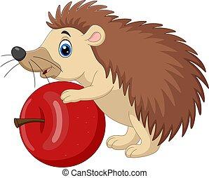 Cartoon baby hedgehog holding red apple