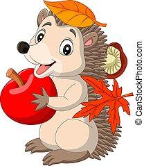 Cartoon baby hedgehog with red apple, autumn leaves and mushroom