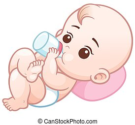 Baby - Vector Illustration of Cartoon baby holding a milk ...