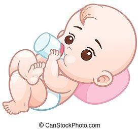 Baby - Vector Illustration of Cartoon baby holding a milk...