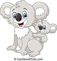 Cartoon baby Koala on Mother's Back