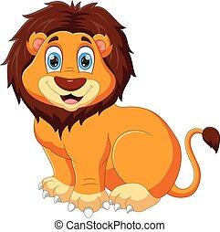 cartoon baby lion posing smiling