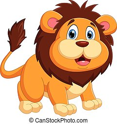 cartoon baby lion posing with a smile