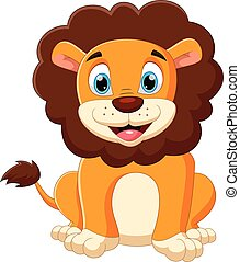 cartoon baby lion posing with smile
