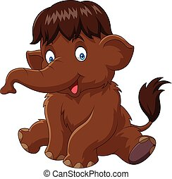 Cartoon baby mammoth isolated on white background - Vector...