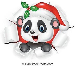Cartoon baby panda bear ripping through the background