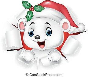 Cartoon baby polar bear ripping through the background