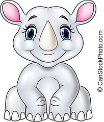 Cartoon baby rhino sitting isolated
