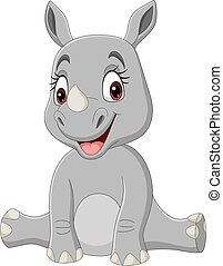 Cartoon baby rhino sitting isolated on white background