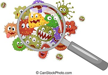 Cartoon bacteria under a magnifying - Vector illustration of...