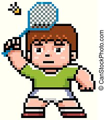 Badminton player - Vector illustration of Cartoon Badminton...