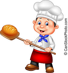 Cartoon baker holding bakery peel tool with bread - Vector ...