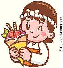 Baker - Vector illustration of Cartoon Baker presenting food