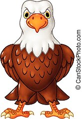 Cartoon bald eagle posing isolated