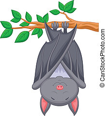 Cartoon bat sleeping - Vector illustration of Cartoon bat...